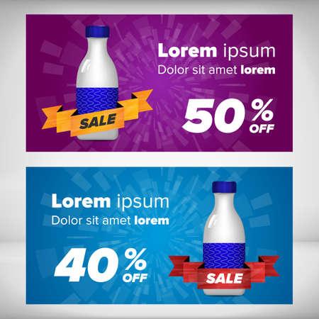 advertisment: Sale banner template with bottle. Milk coctails Illustration
