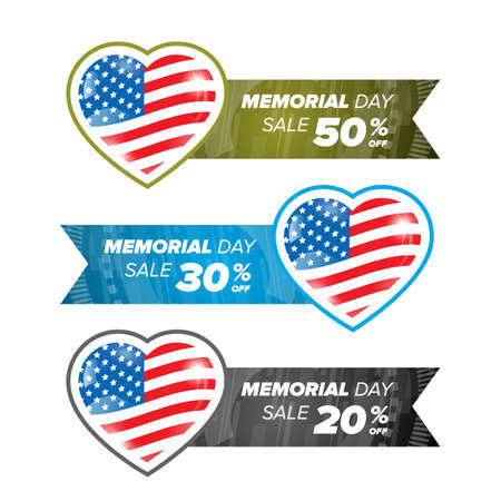 anniversary sale: Memorial day banner element - American Flag in heart - vector illustration