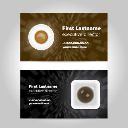 contacting: Business card template design with coffee cup