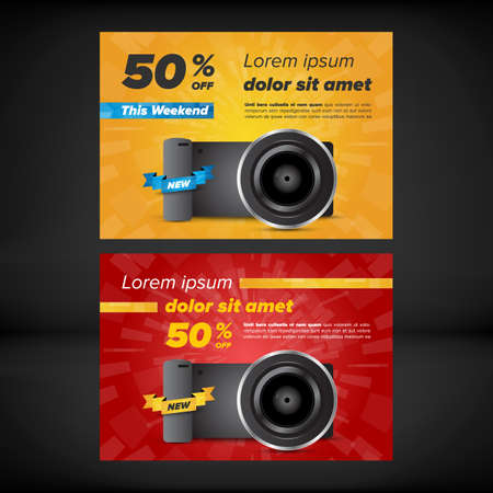 flayers: Horizontal sale flayers with photo camera illustration. Sale and discounts. Illustration