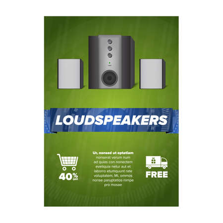 flayers: Vertical sale flayers with loudspeaker illustration. Sale and discounts.