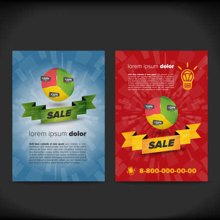 advertisment: Finance leaflet design with chart and ribbon with sample text