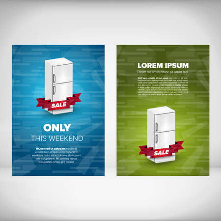 condenser: Fridge sale leaflet design concept with blue and green backgrounds Illustration