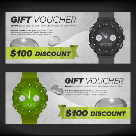 waterdrops: Gift voucher design template with watches and waterdrops
