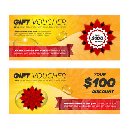 buddism: Gift voucher with red mandala flower and sample text