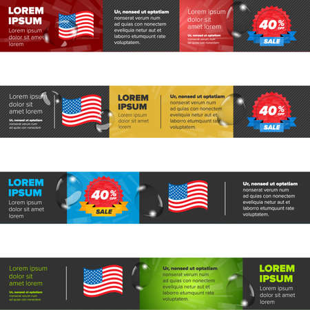 shiny day: Banners set with USA flag and discont icon Illustration