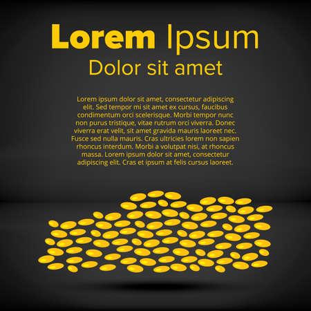 Grain on a black background. design concept Ilustração