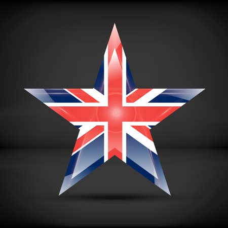 great britain flag: Great Britain flag in star shape with reflections and shadows Illustration