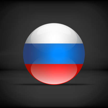 russian flag: Round Russian flag with reflections and shadows, on a black background