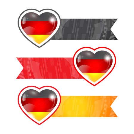 bandera de alemania: Corazones con banderas y cintas conjunto con la bandera de Alemania