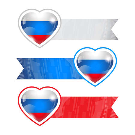 russian flag: Hearts with flags and ribbons set with Russian flag Illustration