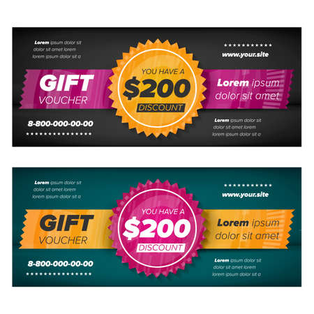 slate: Black and slate gray Gift voucher template with decorative elements Illustration