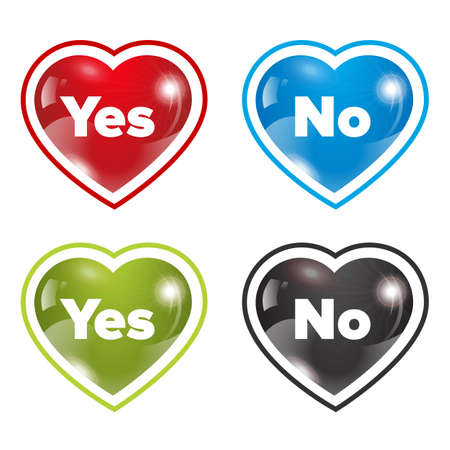 dating icons: Dating hearts set with yes and no sign with different colors