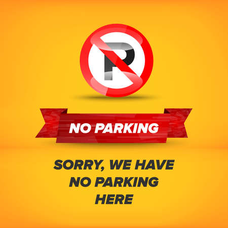 no parking sign: No parking sign on an orange abstract background