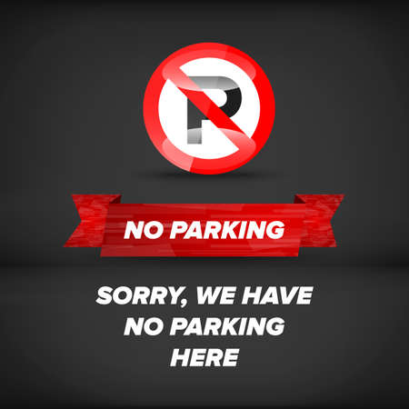 no parking sign: No parking sign on an black abstract background Illustration