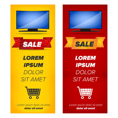 plasma: Vertical banners with plasma tv placed on abstract color background