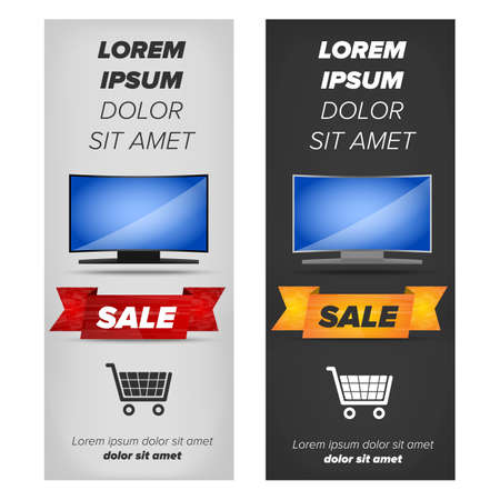 plasma tv: Vertical banners with plasma tv placed on black and white background