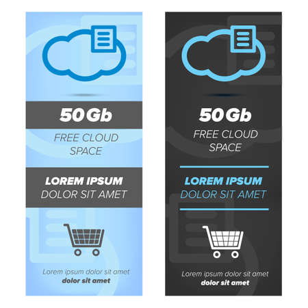 cloud service: Vertical banners for cloud service with icons on abstract background