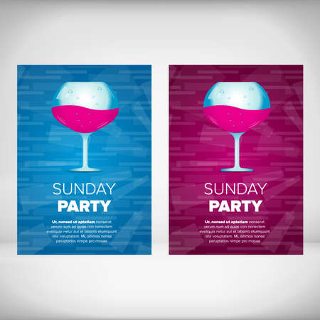 party drinks: Sunday party leaflet with wine glass on an abstract color backgrounds