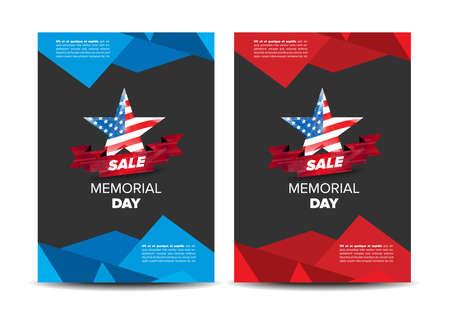 Memorial day patriotic flayer, placard vector template Illustration