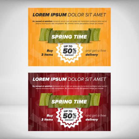 discount banner: Spring sale banner. Limited time offer and discount illustration. Illustration