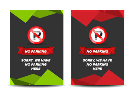 no  parking: No parking leaflet with colored abstract background Illustration