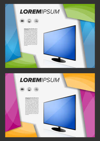 led tv: Flayer template with LED TV on abstract background Illustration