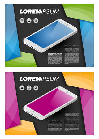 flayer: Flayer template with isometric mobile phone on abstract background