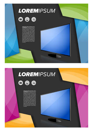 plasma tv: Flayer template with LED TV on abstract background Illustration