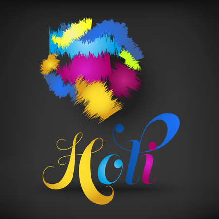spring festival: Happy Holi spring festival of colors greeting vector background with realistic volumetric colorful Holi powder paint clouds and sample text. Blue, yellow, pink and violet powder paint Illustration