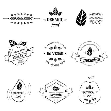 Vintage organic food badges with leafs and apple