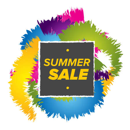 commercial painting: Summer sale banner with abstract background template Illustration