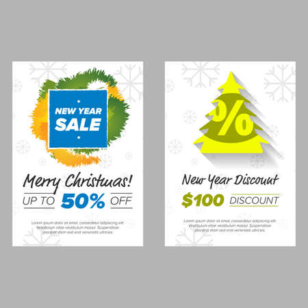 christmass: New Year Banner with sale tag and green tree wth percent sign