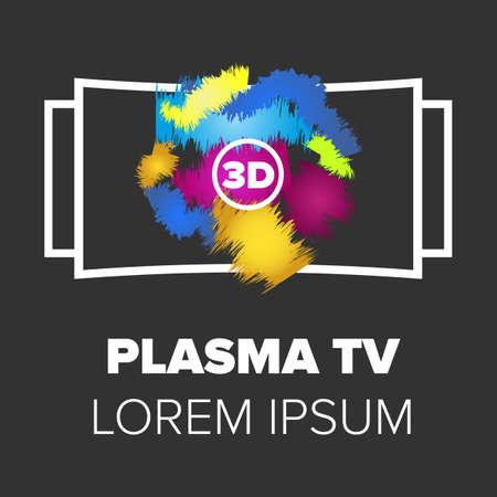 plasma tv: Plasma TV icon. Monitor icon with black background Illustration