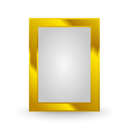 art museum: golden frame isolated on the white background