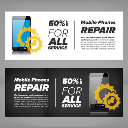 mobile device: Smart phone device repair banner with gears and mobile phone