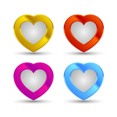 shiny hearts: Colored shiny hearts icons set with shadow