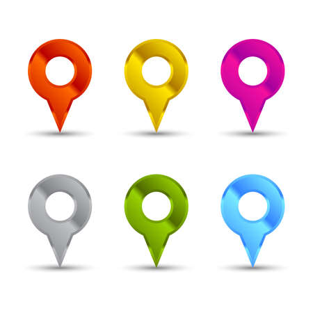 pointers: Colored shiny map pointers set with shadows