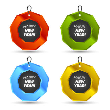 happy new year text: Happy new year text sign icon. Christmas symbol