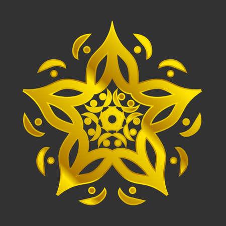 paganism: Golden Mandala decorative Arabic or Indian motifs