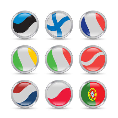 european flags: European flags icons set in metallic circles with reflections and shadows Illustration