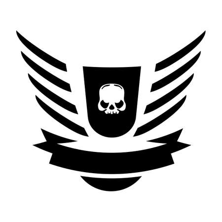 coupe: Moto Skull Vector Symbol inside shield with wings Illustration