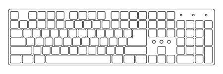 computer keys: White laptop computer wireless keyboard top view with keys, vector illustration Illustration