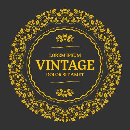 Elegant golden floral monogram design. Calligraphic elegant ornament