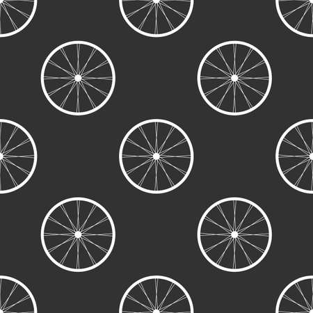 bicycling: White Bicycle wheels seamless background on black Illustration