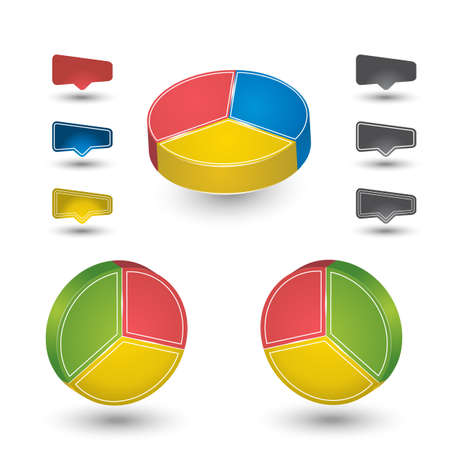 polls: Pie charts designs with icons for percentage Illustration