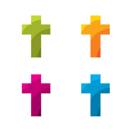evangelical: Colored cross set on a white background
