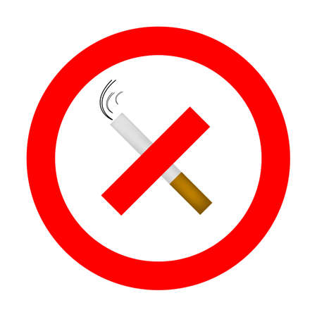 pernicious habit: No smoking sign, red ring, sigarette cigarette crossed inside
