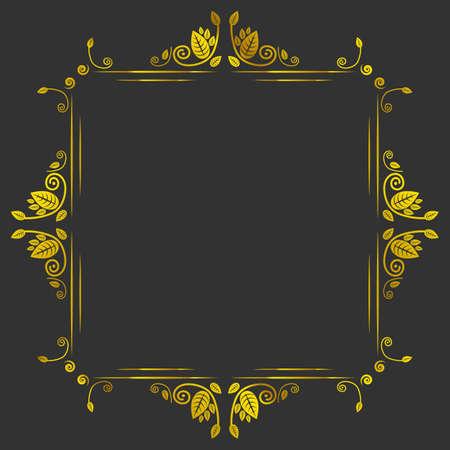 page borders: Vintage golden antique vector frame on black background Illustration