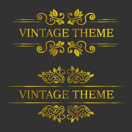 vignette: gold vintage vignette frames set on white background